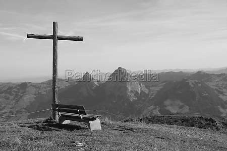 summit cross and bench on the