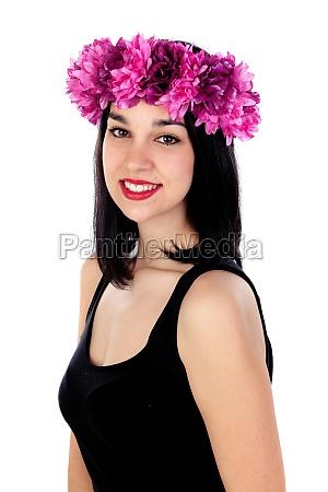 beautiful brunette girl with purple flowers