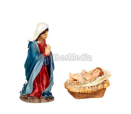 scene of the nativity mary and