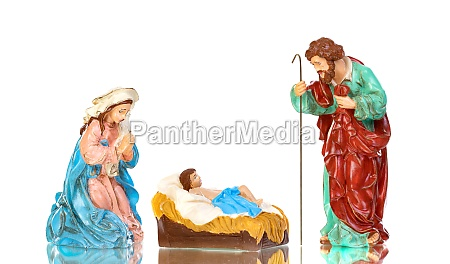traditional christmas nativity with mary and