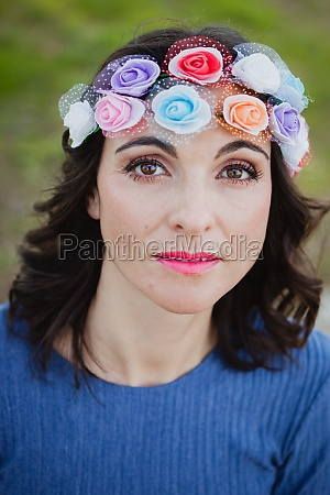 pretty brunette girl with flower crown