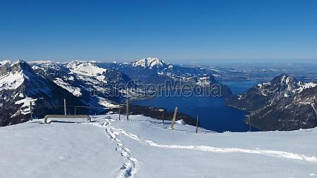 beautiful view from fronalpstock lake vierwaldstaettersee