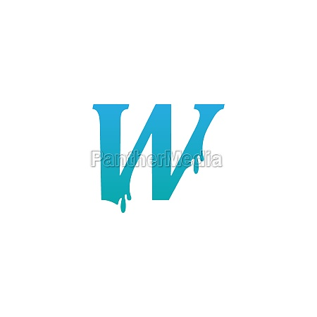 melting letter w icon logo design