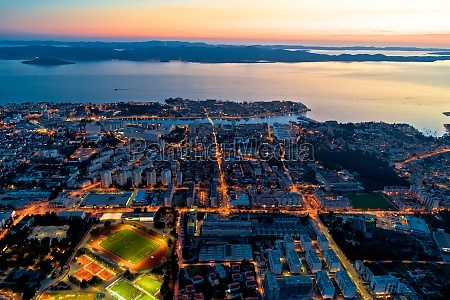 colorful nightscapes of city zadar aerial