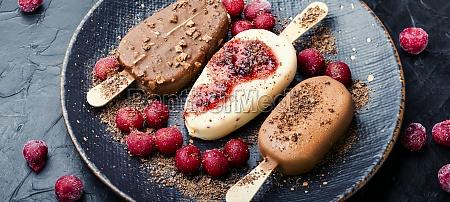 chocolate ice cream on a stick