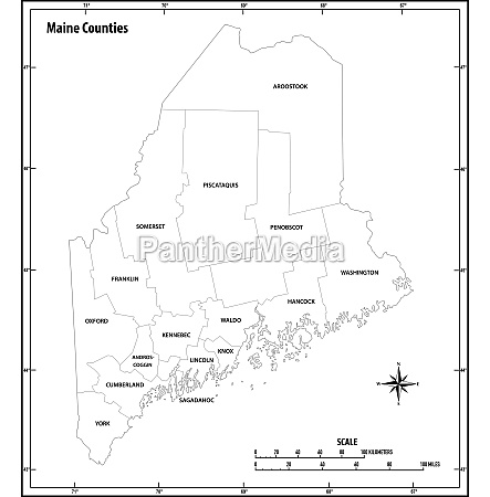 maine state outline administrative and political