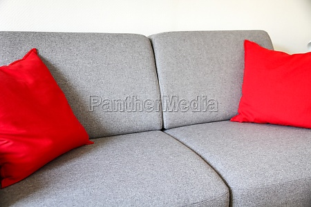 grey sofa close up view with