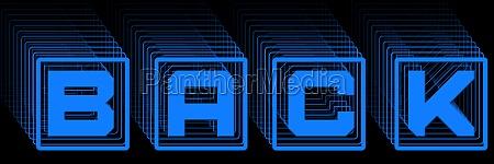 back blue lettering in frame