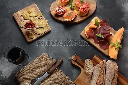brushetta or traditional spanish tapas appetizers