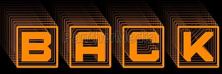 back orange lettering in frame