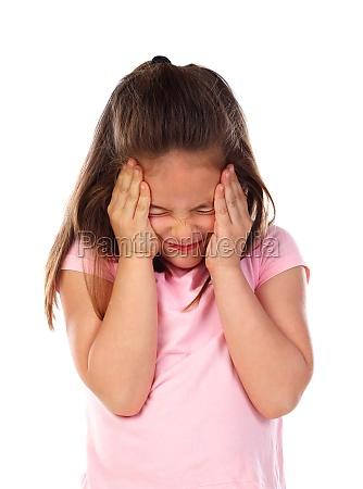 small girl with headache