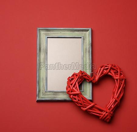 empty rectangular blank wooden frame red