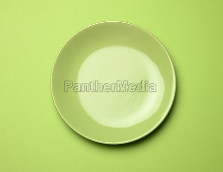 empty round green plate for main
