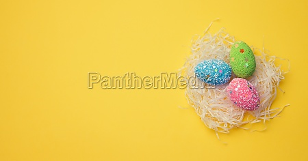decorative easter eggs in a nest