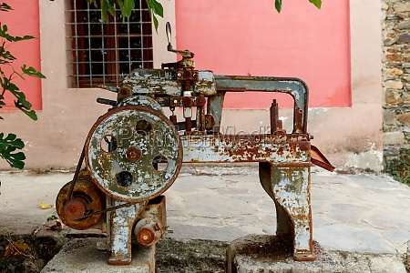 old rusty machine located in a