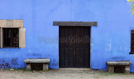 blue facade of old house with