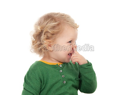 beautiful blond child with green t