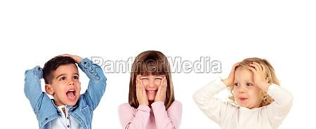 children gesturing different expressions