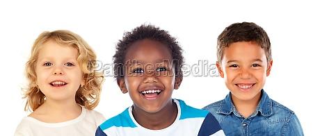 three different children together