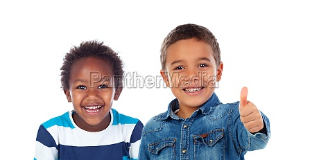 happy children saying ok with the