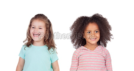 two funny children laughing