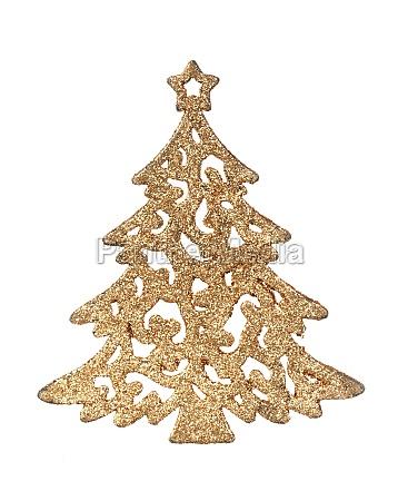 bright golden christmas tree