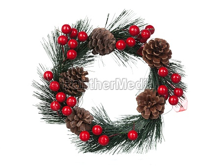 delicate christmas wreath with pine cones