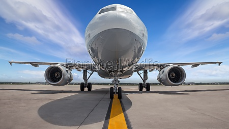 modern airliner on a runway ready