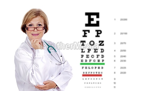mature optician with glasses