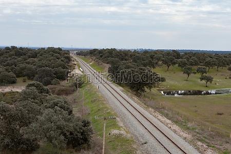 railway track in a green field