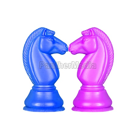 blue and pink knights face to