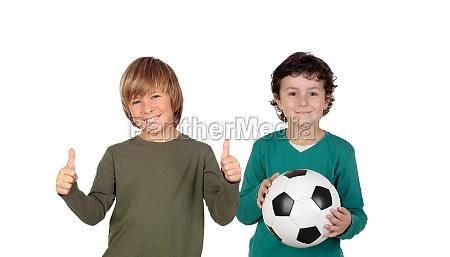 classmates with a soccer ball