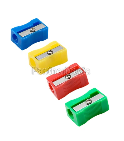 four pencil sharpener with differents colors