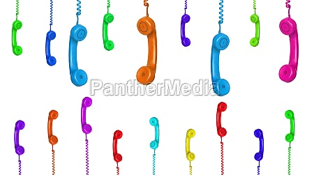 row of old handsets hanging