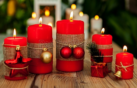 candles for christmas in red