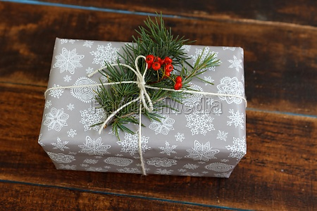 christmas gift on a wooden table