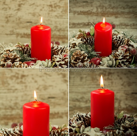 four images with red candle lit