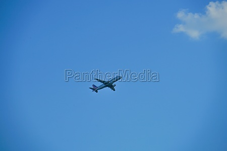 blue sky and the plane of