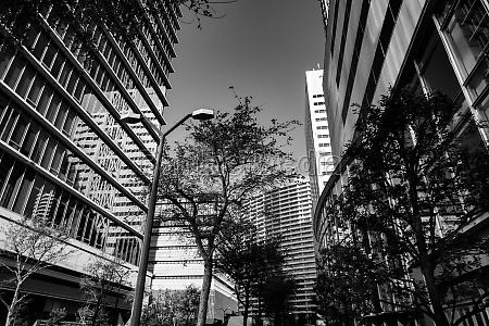 yokohama minato mirai skyline monochrome