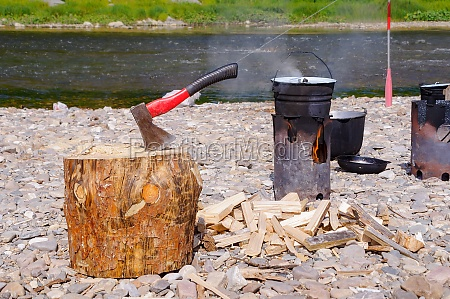 firewood preparation for camping camp kitchen