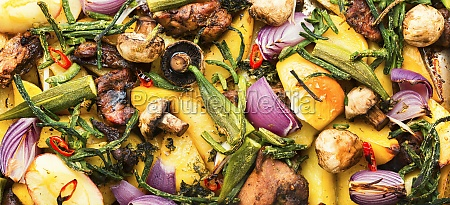 tasty roasted meat with vegetables