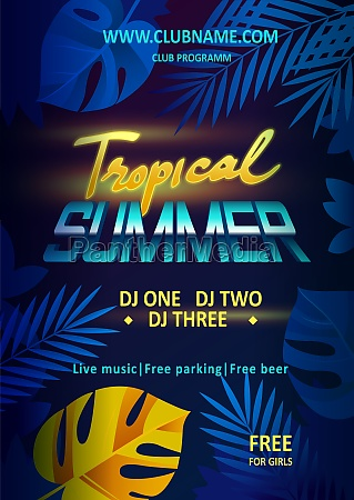 night party vector flyer template tropical