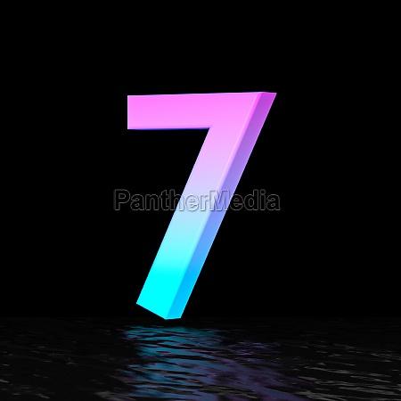 cyan magenta font number 7 seven