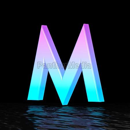 cyan magenta font letter m 3d