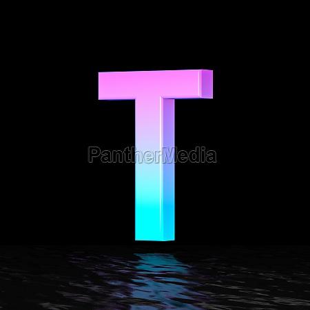 cyan magenta font letter t 3d