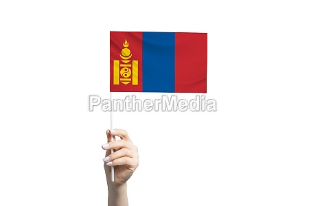 beautiful female hand holding mongolia flag