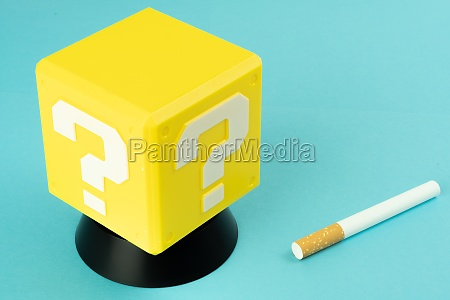 question mark and cigarette and glass