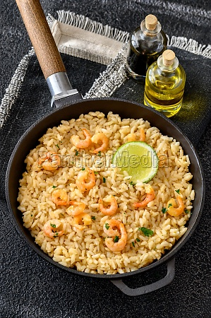 portion of risotto with prawn
