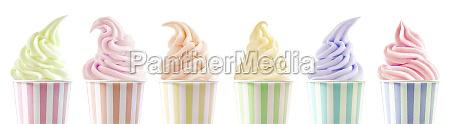 row of six assorted ice cream