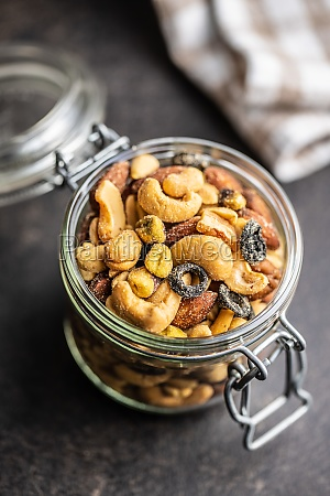 mix of salted nuts in jar